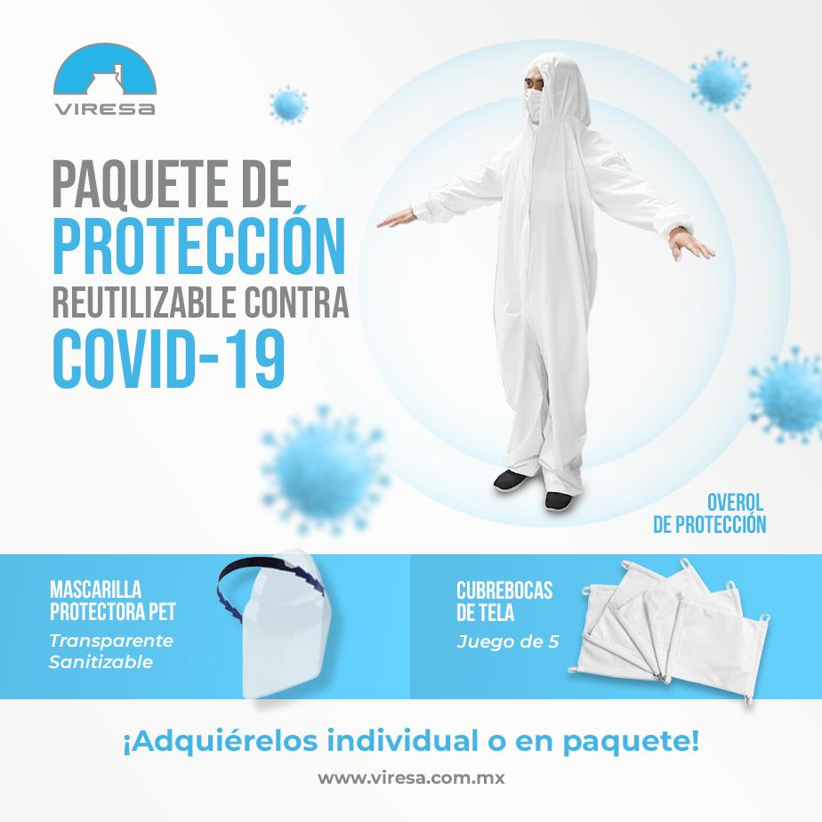 Paquete de protección contra COVID-19, incluye overol, mascarilla protectora de PET y cubrebocas de Tela